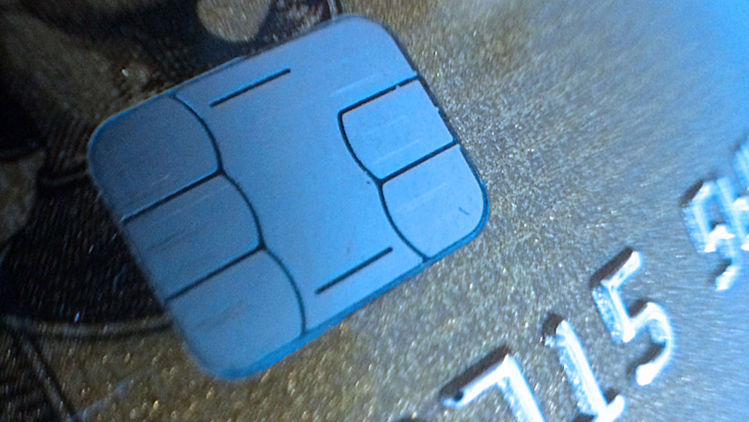 Close-up view of chase EMV chip credit card