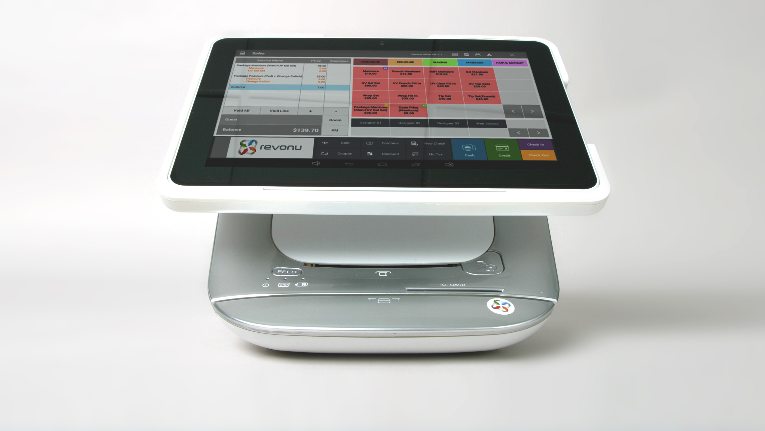 A white revonu point-of-sale system showing android tablet with restaurant pos software running.