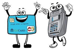 Cartoon illustrations of an EMV Chip Card reader and EMV Credit Card