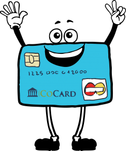 Anthropomorphic cartoon EMV card smiling