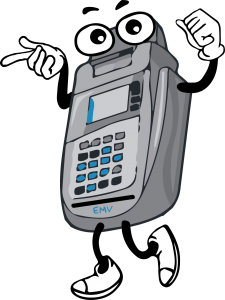 Cartoon anthropomorphic EMV enabled terminal smiling